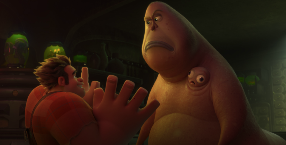 Ralph meets the dark web overlord Double Dan (voiced by Alfred Molina). (Image: Disney)