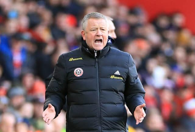 Chris Wilder's Sheffield United could be in contention for Champions League qualification (Danny Lawson/PA).