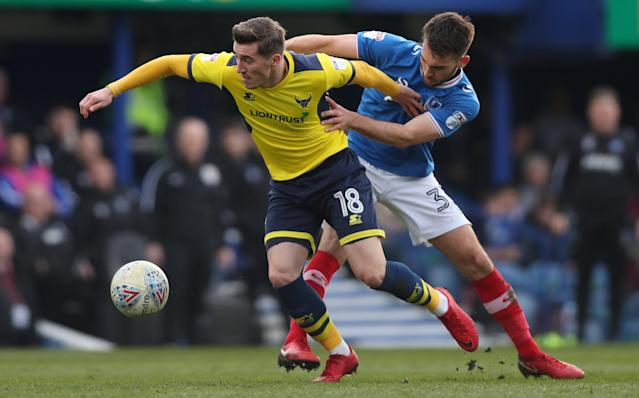 "Soccer Football - League One - Portsmouth vs Oxford United - Fratton Park, Portsmouth, Britain - March 25, 2018 Portsmouth's Ben Close in action with Oxford United's Joe Rothwell Action Images/Peter Cziborra EDITORIAL USE ONLY. No use with unauthorized audio, video, data, fixture lists, club/league logos or ""live"" services. Online in-match use limited to 75 images, no video emulation. No use in betting, games or single club/league/player publications. Please contact your account representative for further details."