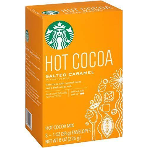 """<p><strong>Starbucks</strong></p><p>amazon.com</p><p><strong>$26.99</strong></p><p><a href=""""https://www.amazon.com/dp/B077QDNRB7?tag=syn-yahoo-20&ascsubtag=%5Bartid%7C2164.g.36792766%5Bsrc%7Cyahoo-us"""" rel=""""nofollow noopener"""" target=""""_blank"""" data-ylk=""""slk:Shop Now"""" class=""""link rapid-noclick-resp"""">Shop Now</a></p><p>If you can't make your usual Starbucks run, don't worry. This Starbucks salted caramel hot cocoa mix is the ultimate blend of sweet and salty. </p>"""