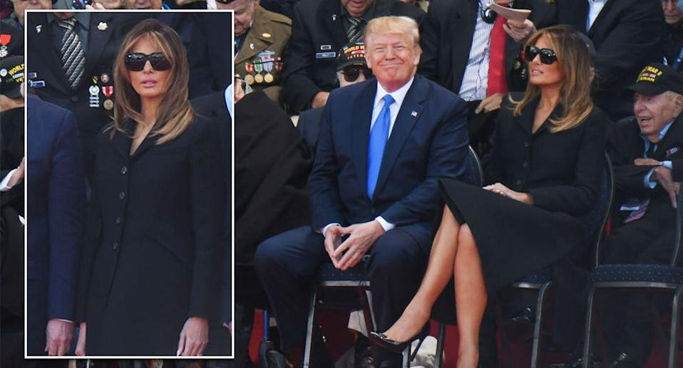 Melania Trump's sunglasses during the D Day ceremony proved offensive for some. [Photo: Getty]