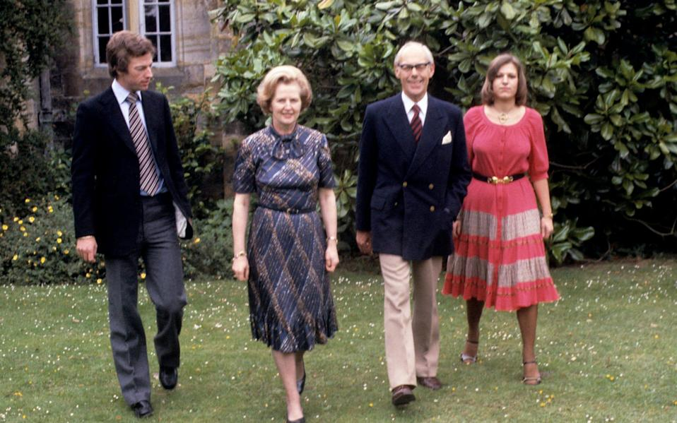 Mark Thatcher with Margaret and Denis Thatcher and sister Carol - PA