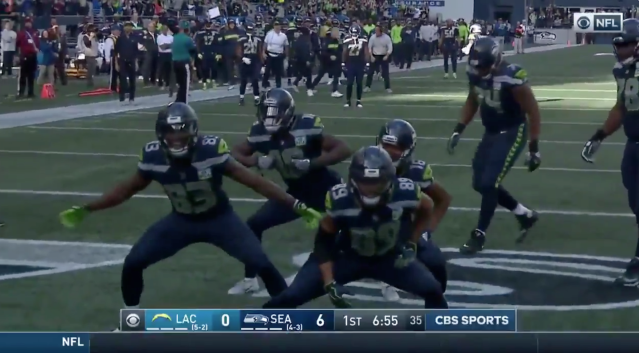 The Seahawks unveiled the year's best touchdown celebration. (Screenshot)
