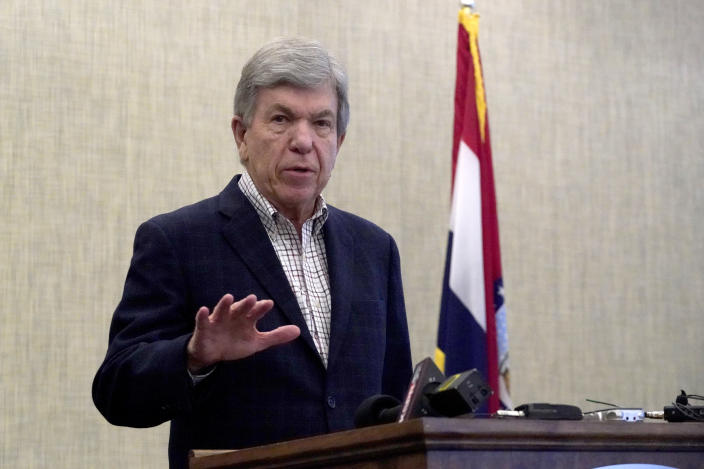 In this March 8, 2021, photo, Sen. Roy Blunt, R-Mo., holds a news conference at Springfield-Branson National Airport as he announces he will not seek a third term in the U.S. Senate in 2022. (AP Photo/Jeff Roberson)