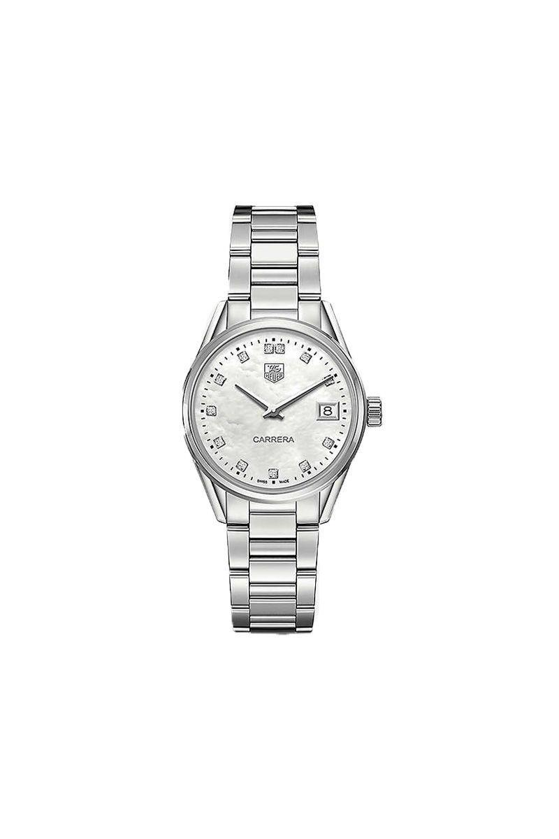 """<p>Tag Heuer - £1,900.00</p><p><a class=""""link rapid-noclick-resp"""" href=""""https://go.redirectingat.com?id=127X1599956&url=https%3A%2F%2Fwww.selfridges.com%2FGB%2Fen%2Fcat%2Ftag-heuer-war1314ba0773-carrera-stainless-steel-and-mother-of-pearl-watch_757-10001-WAR1314BA0773%2F&sref=https%3A%2F%2Fwww.elle.com%2Fuk%2Ffashion%2Fwhat-to-wear%2Farticles%2Fg31918%2Fbest-watches-to-buy-this-season%2F"""" rel=""""nofollow noopener"""" target=""""_blank"""" data-ylk=""""slk:SHOP NOW"""">SHOP NOW</a></p>"""