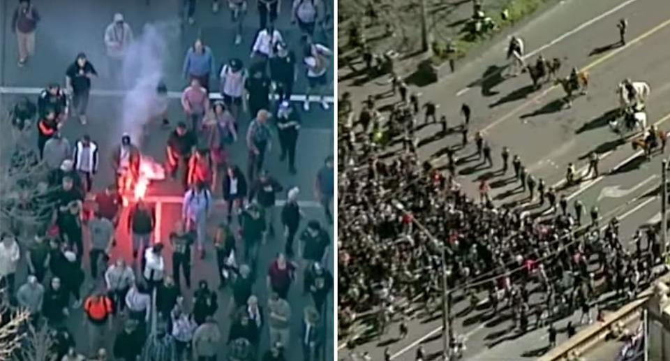 Protesters bumrushed a police line in the city as demonstrators walked through the CBD. Source: ABC News