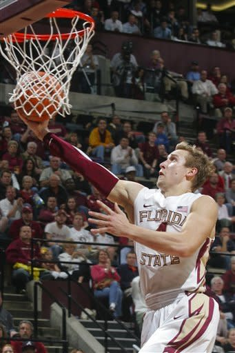 Florida State's Deividas Dulkys (4) makes a layup on a breakaway steal in the second half of an NCAA college basketball game against Georgia Tech, Wednesday, Feb. 1, 2012, in Tallahassee, Fla. Florida State won 68-54. (AP Photo/Phil Sears)