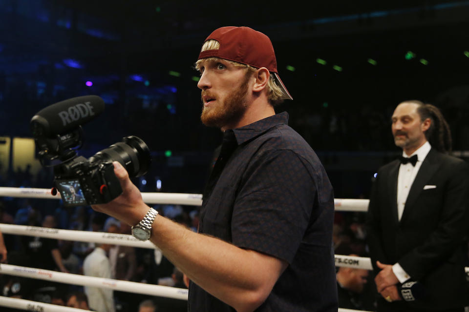 MIAMI, FLORIDA - JANUARY 30:  Logan Paul looks on after his brother, Jake Paul, defeated AnEsonGib in a first round knockout during their fight at Meridian at Island Gardens on January 30, 2020 in Miami, Florida. (Photo by Michael Reaves/Getty Images)