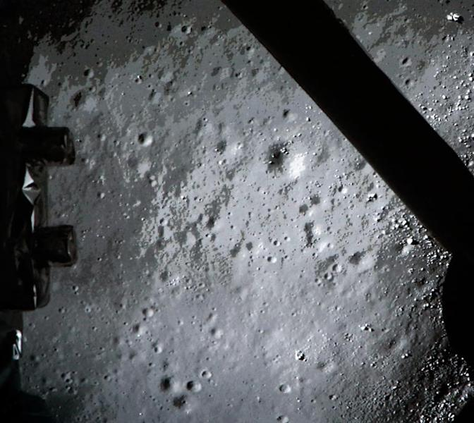 The moon surface transmitted to Earth by the Chang'e-3 space probe carrying China's first lunar rover prior to landing on the moon on December 14, 2013, in shown in this Beijing Space Centre image