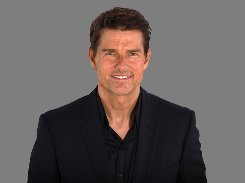 Tom Cruise headshot, actor, graphic element on gray