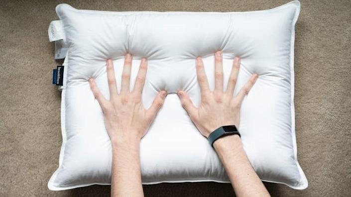 """Brooklinen Down Pillows are treated with """"antimicrobials,"""" which will help keep the dry-clean-only pillow clean."""