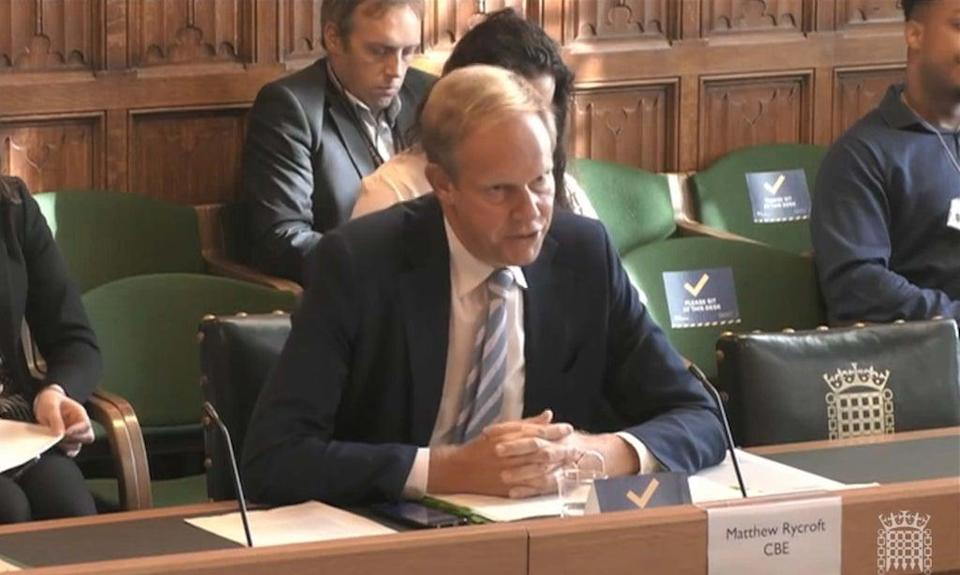 Home Office Permanent Secretary Matthew Rycroft said it was with regret the Windrush compensation payout target had not been met. (House of Commons/PA) (PA Wire)