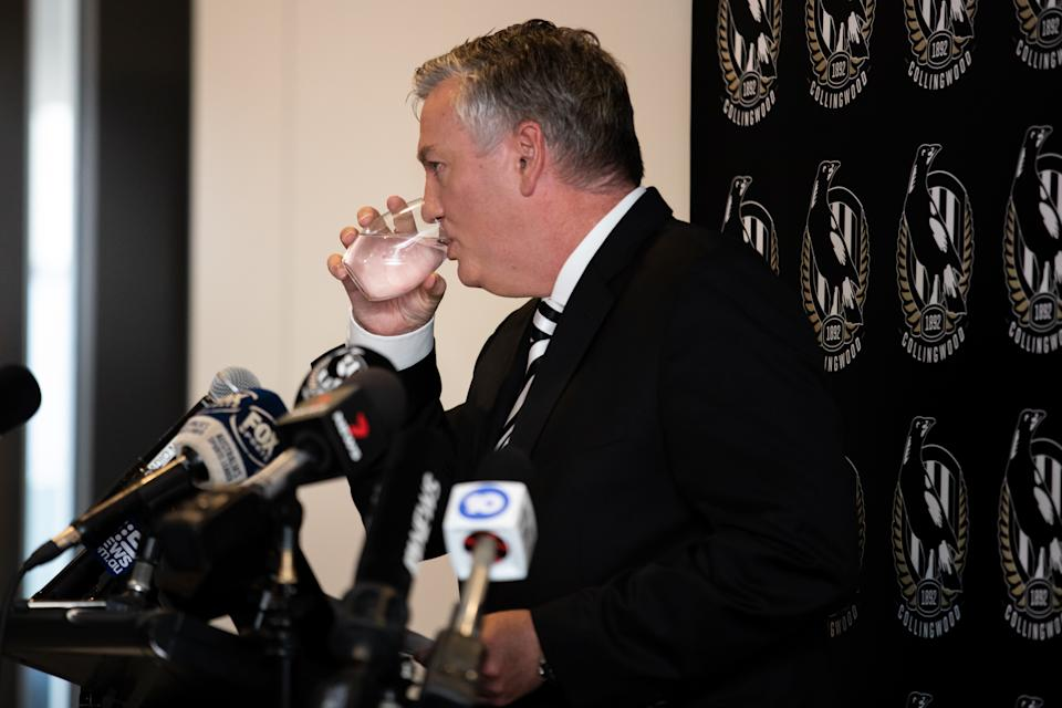 Eddie McGuire resigns effective immediately as Collingwood Football Club President whilst speaking to the media during a Collingwood Magpies AFL press conference at the Holden Centre on February 09, 2021 in Melbourne, Australia.