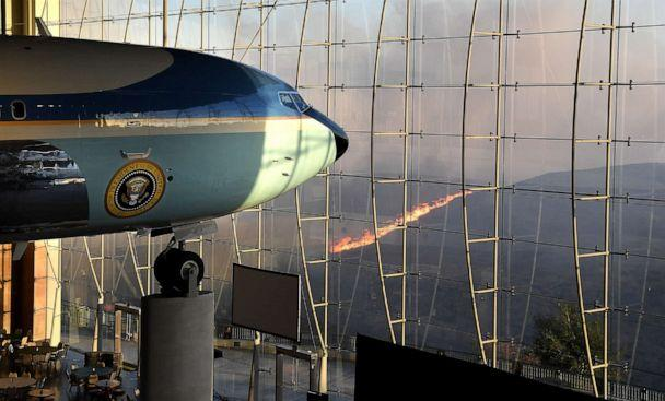 PHOTO: President Ronald Reagan's Air Force One sits on display at the Reagan Library as the Easy Fire burns in the hills, Oct. 30, 2019, in Simi Valley, Calif. (Wally Skalij/Los Angeles Times / Polaris)