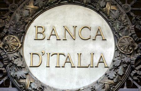 File picture shows the Banca D'Italia logo at the headquarters in Milan, Italy