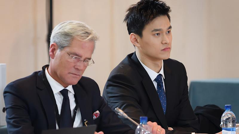 Sun Yang, pictured here at his public hearing before the Court of Arbitration for Sport.