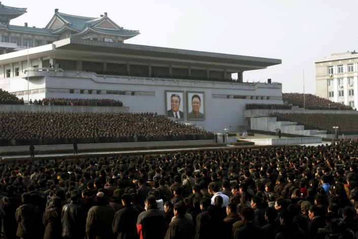 """North Koreans attend a rally in support of a statement given on Tuesday by a spokesman for the Supreme Command of the Korean People's Army vowing to cancel the 1953 cease-fire that ended the Korean War as well as boasting of the North's ownership of """"lighter and smaller nukes"""" and its ability to execute """"surgical strikes"""" meant to unify the divided Korean Peninsula, at Kim Il Sung Square in Pyongyang, North Korea, on Thursday, March 7, 2013. North Korea on Thursday vowed to launch a pre-emptive nuclear strike against the United States, amplifying its threatening rhetoric hours ahead of a vote by U.N. diplomats on whether to level new sanctions against Pyongyang for its recent nuclear test. (AP Photo/Jon Chol Jin)"""