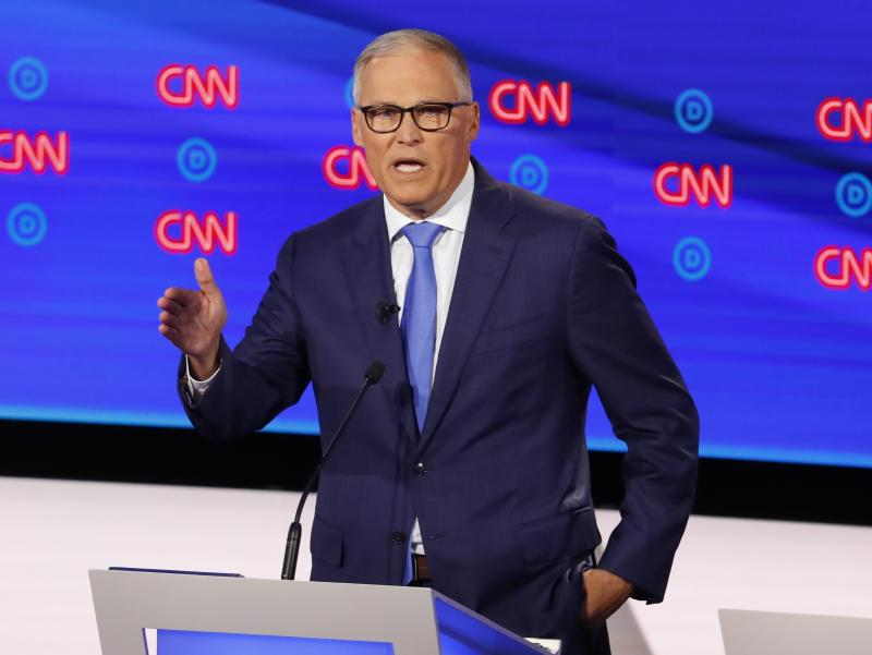 Washington Gov. Jay Inslee speaks during a Democratic presidential primary debate in Detroit last month. (AP Photo/Paul Sancya)