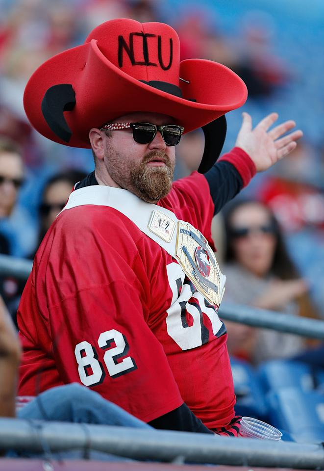 FOXBORO, MA - NOVEMBER 2: A fan of the Northern Illinois Huskies reacts during a game with the Massachusetts Minutemen in the 2nd half during a game with the Massachusetts Minutemen at Gillette Stadium on November 2, 2013 in Foxboro, Massachusetts. (Photo by Jim Rogash/Getty Images)
