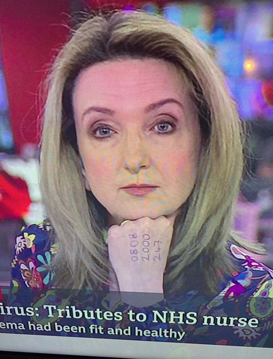 "<p>Presenting BBC News on Monday morning, viewers noticed Victoria Derbyshire had a phone number written on her hand. </p><p>Inscribed was the National Domestic Abuse hotline in the UK - an attempt by the presenter to alert anyone<a href=""https://www.elle.com/uk/life-and-culture/a31779483/coronavirus-self-isolation-domestic-violence/"" rel=""nofollow noopener"" target=""_blank"" data-ylk=""slk:trapped at home with a violent or controlling partner"" class=""link rapid-noclick-resp""> trapped at home with a violent or controlling partner </a>to the helpline for support.</p><p>Sharing a picture of her hand on Instagram ahead of appearing on the news, Derbyshire wrote that there has been an 150% increase on visitors to the hotline's website and 25% increase in calls to the hotline since lockdown.</p><p>The presenter was <a href=""https://twitter.com/VictimsComm/status/1247155353000628225?s=20"" rel=""nofollow noopener"" target=""_blank"" data-ylk=""slk:overwhelmingly praised online"" class=""link rapid-noclick-resp"">overwhelmingly praised online</a> for the move.</p>"