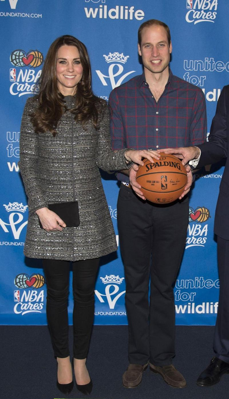 Kate was famously pictured in the now sold-out coat when she stopped by the NBA basketball game at New York's Barclay's Center and had her photo taken with superstar basketball player LeBron James in 2014. Photo: Getty Images