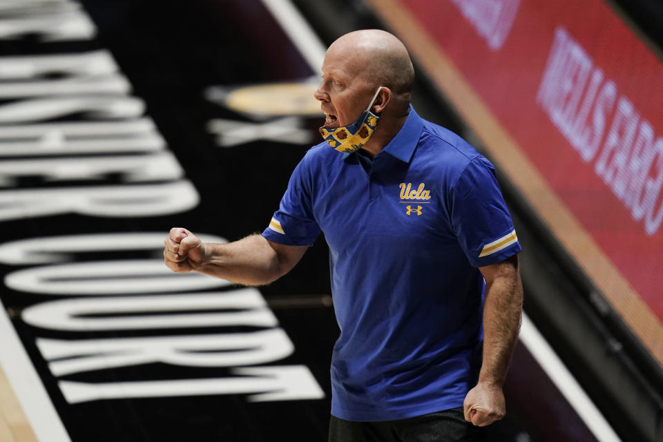 UCLA coach Mick Cronin reacts during the second half of the team's NCAA college basketball game against Pepperdine, Friday, Nov. 27, 2020, in San Diego. (AP Photo/Gregory Bull)