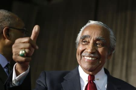 Rangel gives a thumb up as he celebrates his victory during the Democratic Primary election in New York