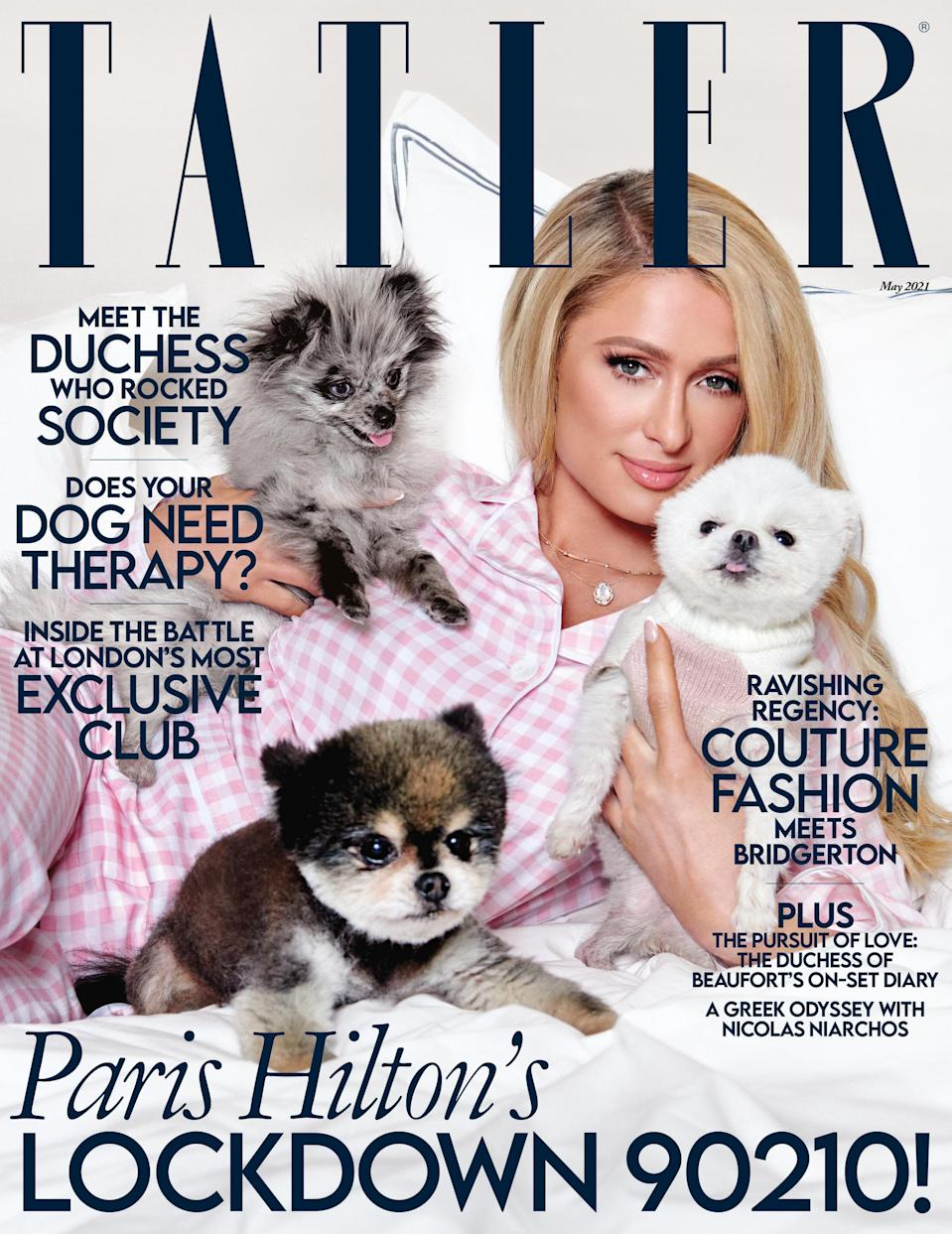 Paris Hilton appears on the cover of the May issue of Tatler (Yu Tsai)