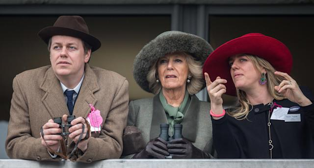 The Duchess of Cornwall with her two children, Tom and Laura, at Cheltenham Festival in 2015. (Photo: Getty Images)