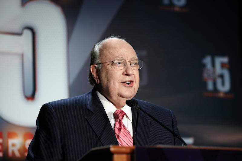 "In this Sept. 2011 photo released by 2MK Studio/Fox News, Fox News chairman-CEO Roger Ailes speaks at a 15-year anniversary party held for employees at Chelsea Piers in New York. Propelled by Ailes' ""fair and balanced"" branding, Fox has targeted viewers who believe the other cable-news networks, and maybe even the media overall, display a liberal tilt from which Fox News delivers them with unvarnished truth.  (AP Photo/2MK Studio/Fox News)"
