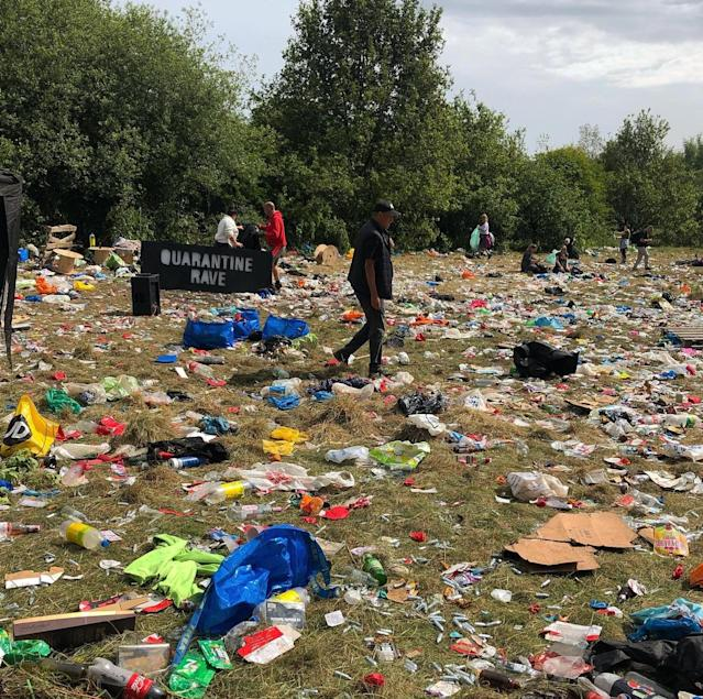 Around 70 volunteers helped to clear the laughing gas canisters, balloons and bags left in Daisy Nook Park on Sunday morning. (PA)