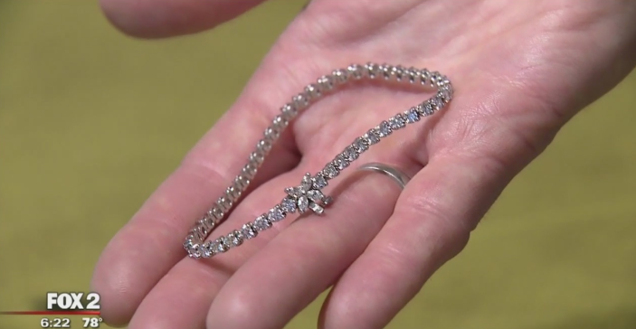 A 15-year-old boy spotted a $20,000 diamond bracelet on the ground, and now it is being returned to its grateful owner. (Photo: FOX2)