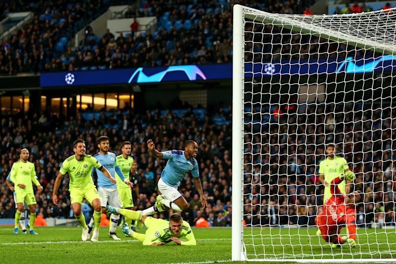 MANCHESTER, ENGLAND - OCTOBER 01: Raheem Sterling of Manchester City scores a goal to make it 1-0 during the UEFA Champions League group C match between Manchester City and Dinamo Zagreb at Etihad Stadium on October 1, 2019 in Manchester, United Kingdom. (Photo by Robbie Jay Barratt - AMA/Getty Images)