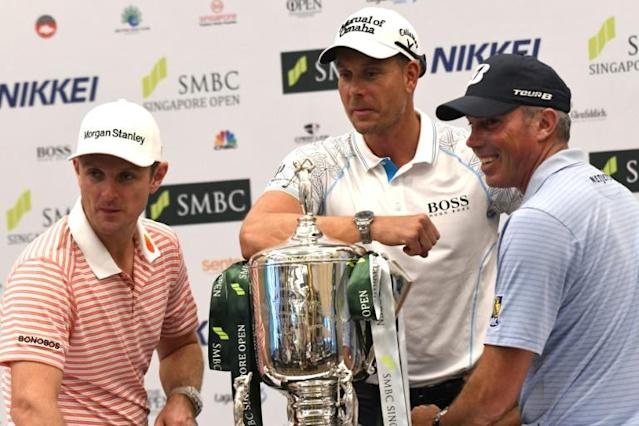 Rio gold medallist Justin Rose (L), silver winner Henrik Stenson (C) and third-placed Matt Kuchar's (R) performances will give clues about their form before the Games begin in July (AFP Photo/Roslan RAHMAN)