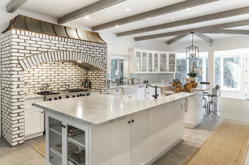 The main indoor kitchen at the Tom Petty house is spacious. (Photo: Adam Latham)