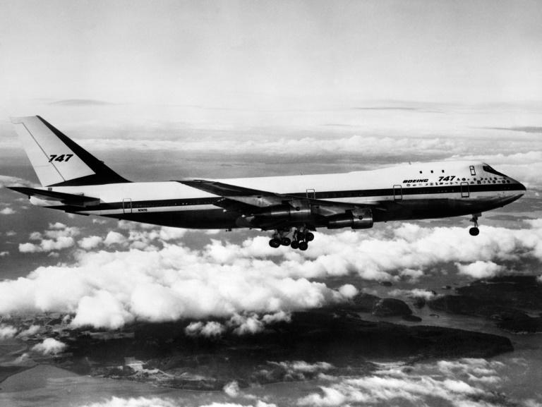 A Boeing 747 during one of its first flights on February 19, 1969
