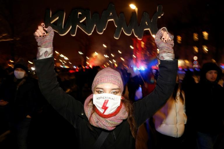 A demonstrator in Warsaw on Thursday