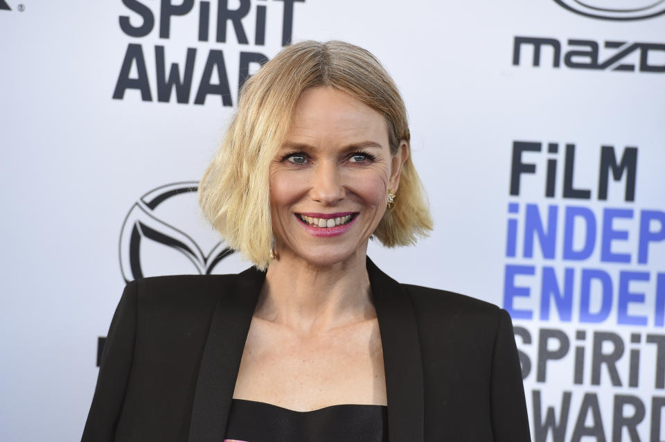 Naomi Watts arrives at the 35th Film Independent Spirit Awards on Saturday, Feb. 8, 2020, in Santa Monica, Calif. (Photo by Jordan Strauss/Invision/AP)