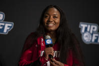 North Carolina State forward Kayla Jones answers a question during NCAA college basketball Atlantic Coast Conference media day, Wednesday, Oct. 13, 2021, in Charlotte, N.C. (AP Photo/Matt Kelley)