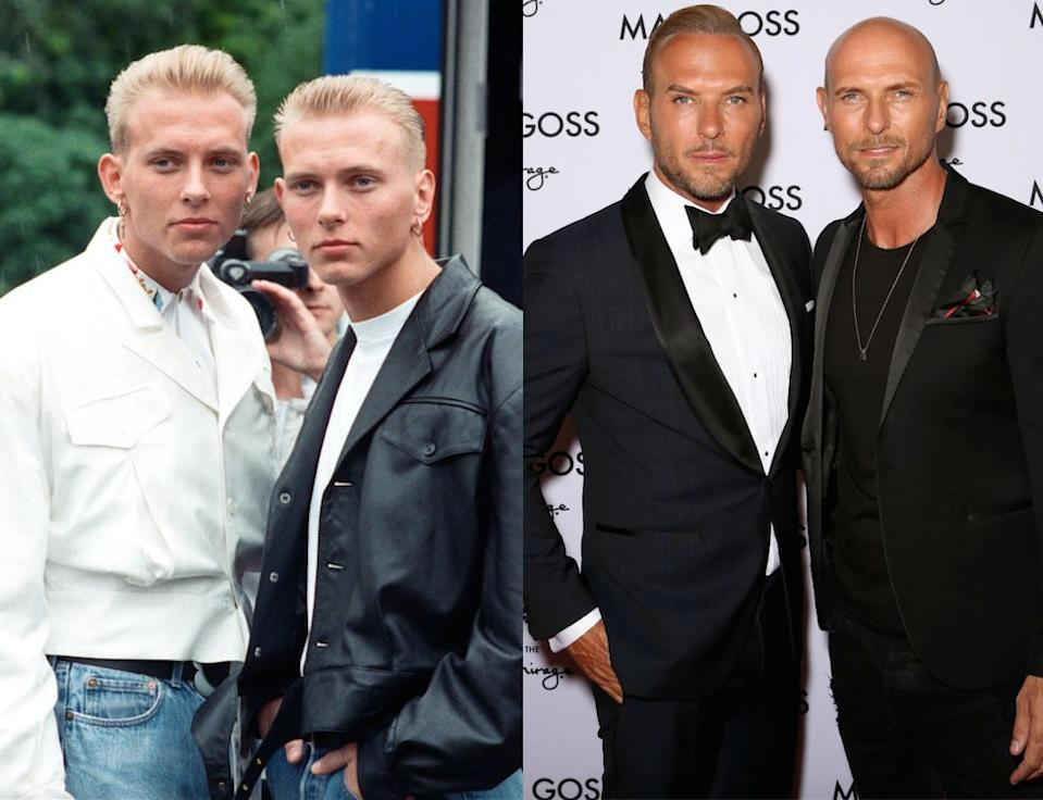 Matt and Luke Goss caused mass hysteria in the 80s. pictured left in 1988 and right in 2019. (Getty)