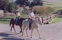 <p>The Reagans spent Thanksgiving at their Santa Barbara ranch, Rancho del Cielo. The couple rode their horses El Alamain (with Ronald) and No Strings (with Nancy). </p>