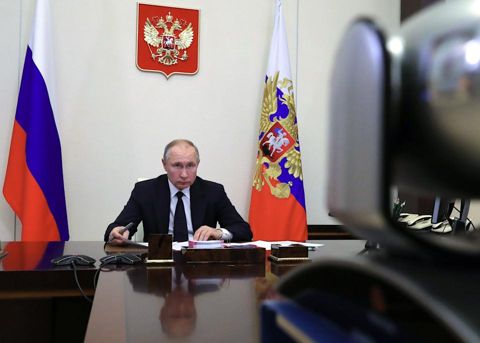 MOSCOW REGION, RUSSIA - JANUARY 14, 2021: Russia's President Vladimir Putin during a video conference meeting with Alexander Brechalov, head of the Republic of Udmurtia, at Novo-Ogaryovo residence. Mikhail Klimentyev/Russian Presidential Press and Information Office/TASS (Photo by Mikhail Klimentyev\TASS via Getty Images) (Photo: Mikhail Klimentyev via Getty Images)