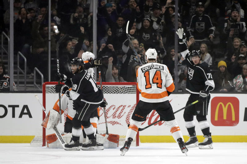 Los Angeles Kings' Alex Iafallo (19) celebrates after scoring against the Philadelphia Flyers during the first period of an NHL hockey game Tuesday, Dec. 31, 2019, in Los Angeles. (AP Photo/Marcio Jose Sanchez)