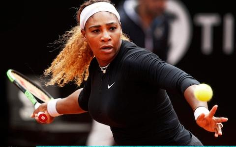 Serena Williams of the USA hits a forehand during her first round match agains Rebecca Petersen of Sweden during day two of the International BNL d'Italia at Foro Italico on May 13, 2019 in Rome, Italy - Credit: Getty Images