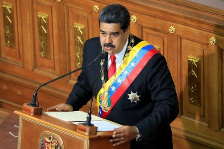 Venezuela's President Nicolas Maduro speaks during a special session of the National Constituent Assembly in Caracas