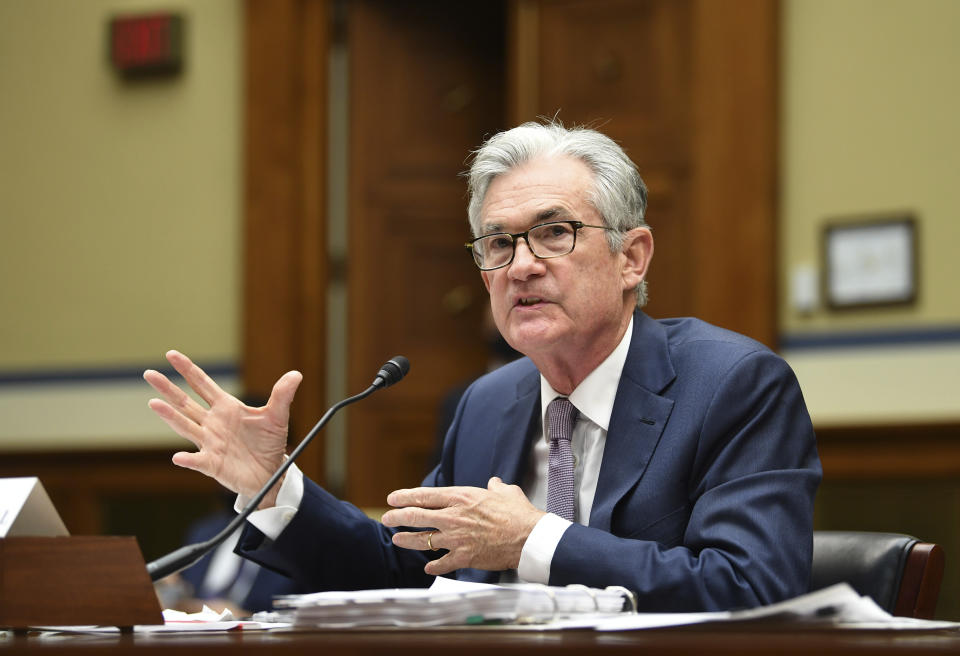 Federal Reserve Chair Jerome Powell testifies during a House Select Subcommittee on the Coronavirus Crisis hearing on Capitol Hill in Washington on Wednesday, Sept. 23, 2020. (Kevin Dietsch/Pool via AP)