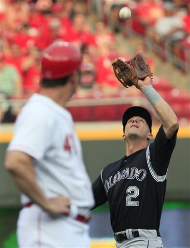 Colorado Rockies shortstop Troy Tulowitzki (2) catches a fly ball hit by Cincinnati Reds' Zack Cozart in the first inning of a baseball game, Friday, May 25, 2012, in Cincinnati. (AP Photo/Al Behrman)