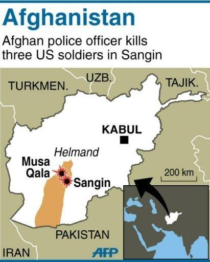 Map localising attack on NATO soldiers in Sangin, Helmand province