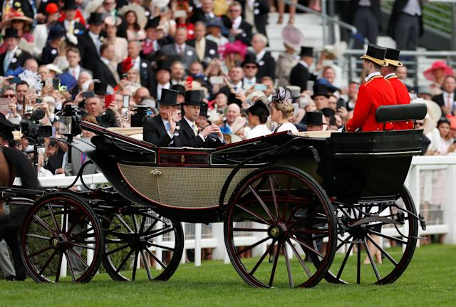 Horse Racing - Royal Ascot - Ascot Racecourse, Ascot, Britain - June 19, 2018 Britain's Prince Harry, Prince Edward, Meghan, the Duchess of Sussex and Sophie, Countess of Wessex arrive at Ascot racecourse REUTERS/Andrew Boyers