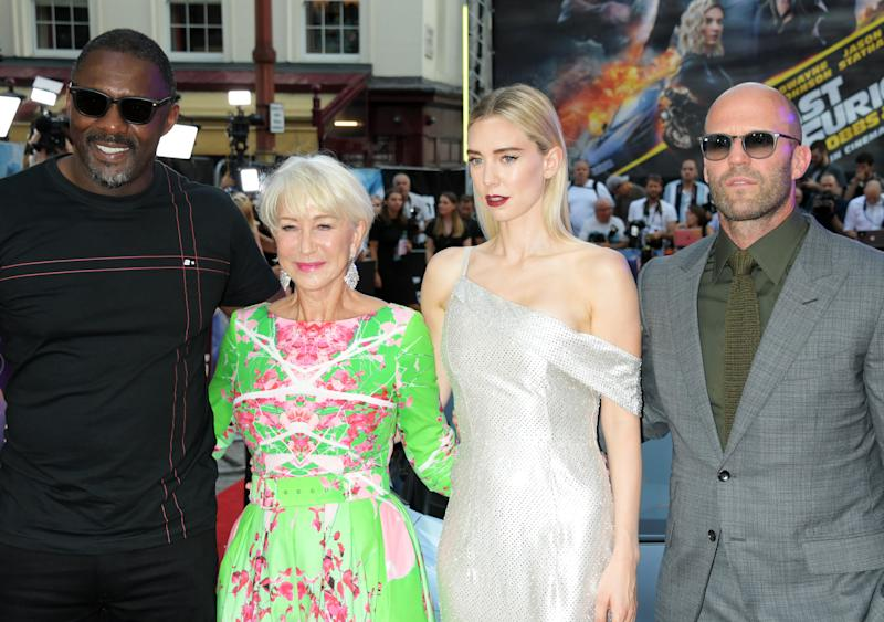 "LONDON, ENGLAND - JULY 23: (L to R) Idris Elba, Dame Helen Mirren, Vanessa Kirby and Jason Statham attend a special screening of ""Fast & Furious: Hobbs & Shaw"" at The Curzon Mayfair on July 23, 2019 in London, England. (Photo by David M. Benett/Dave Benett/WireImage)"